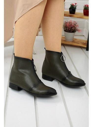 Ayakland Ayakland 8284-2003 Cilt Fermuarlı Bayan Bot Ayakkabı Yeşil
